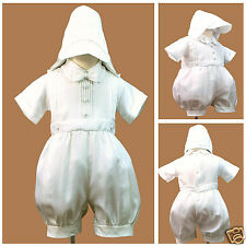 White New Born Short Rompers Baby Toddler Boy Christening Baptism 0-30M Sz 0-4