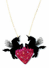 Unicorn Pegasus Necklace & Bright Pink Glittery Rainbow Heart - Valentines Love