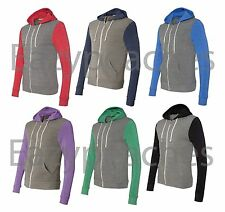 Alternative Apparel Unisex S-3XL ECO Full Zip-up Colorblock Rocky Hoodie Jumper
