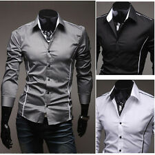 New Mens Stylish Formal Casual Suits Slim-Fit Dress Shirt-SS