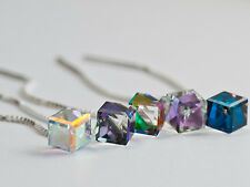 CUBE 6mm Genuine SWAROVSKI Crystal Threader Earrings Thread- 925 STERLING SILVER