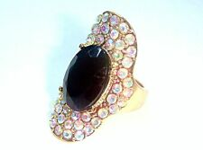 AMAZING RIVER ISLAND DIAMANTE ENCRUSTED STONE RING (NEW) Size L