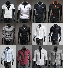 2014 Mens Solid Formal Casual Slim-Fit Active Dress Shirt Collection-Full Styles