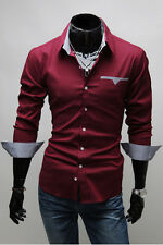 New 2014 Collection Mens Casual Formal Suits Dark Red Slim-Fit Dress Shirt-ESS