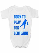 Born To Play For Scotland Rugby Babygrow Vest Baby Clothing Funny Gift