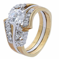 Gold Wedding, Engagement & Eternity Ring Set gp cz Various Sizes