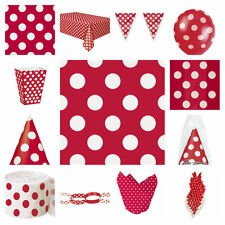 RED AND WHITE POLKA DOT SPOTTY PARTY DECORATIONS NAPKINS TABLECOVER HATS FLAGS