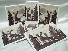 RUSTIC DEER SILHOUETTE LIGHT OUTLET DOUBLE SWITCH PLATE