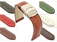 Mens Leather Watch Band Strap Croco Deployment Clasp 18mm 20mm 22mm 24mm 26mm-MM