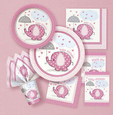 BABY SHOWER UMBRELLAPHANTS PINK GIRL PLATES CUPS NAPKINS DECORATIONS TABLECOVER