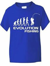 Evolution Of Fishing Sport Funny Kids Girls Boys T-Shirt Birthday Gift Age 1-13