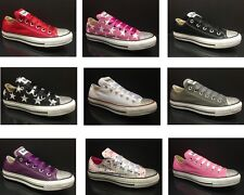 WOMENS GIRLS CUSTOMISED CONVERSE CT All STAR OX  CANVAS TRAINERS  TEN 10 COLOURS