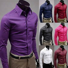 New 2014 Mens Stylish Plain Color Sexy Formal Casual Slim-Fit Dress Shirt-PSS