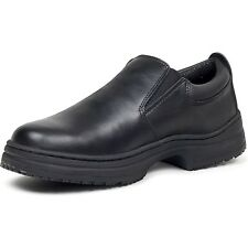 Men's SLIPGRIPS Slip On Slip Resistant Black Leather Non-Safety Toe Work Shoes