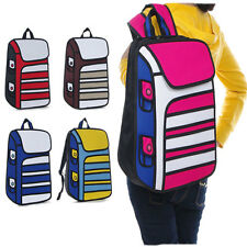 3D Jump Style 2D Drawing From Cartoon Paper Bag Comic 3D Backpack  Shoulders Bag