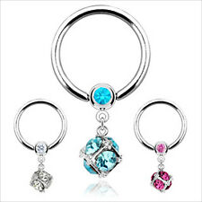 "1 or 2 PCS 14g 1/2"" Dangle Cz Gem Captive Bead Ear Nipple Belly Navel Ring 8MM"