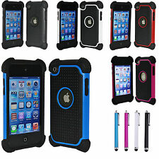 DELUXE 3PIECE HARD CASE COVER SKIN FOR IPOD TOUCH 4 4G 4TH GEN+PROTECTOR+STYLUS
