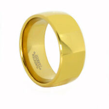 Gold Tungsten Carbide Ring 9MM Ladies 18K Yellow IP Polished Dome  w Comfort Fit