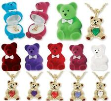 Teddy Bear Birthstone Pendant Necklace - Heart Shaped Stone - Choose Month!