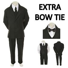 New Baby Toddler Boy Black Formal Wedding Party Suit Tuxedo+ Black Bow Tie S-4T