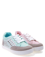 MOGAN Studded Suede and Faux Leather Lace Up Sneakers