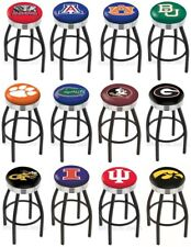 Choose NCAA A-J Team L8B3C Black Single-Ring Bar Stool w/ Chrome Ribbed Accent