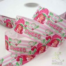 "7/8"" 22mm Pink Strawberry Girl Cartoon Grosgrain Ribbon 5/50 Yards Craft Sewing"