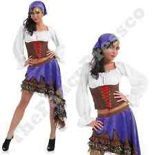 Womens Ladies Gypsy Queen TV Fancy Dress Costume Fortune Teller Crystal Ball NEW