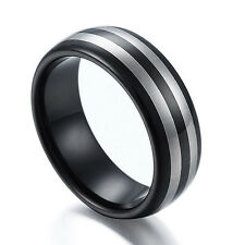 Tungsten Carbide Ring Men Women Double Stripes Black Plated 6mm 8mm Size 6-12