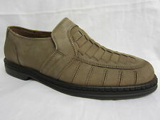 Mens Clarks Taupe Leather Nubuck Slip On Casual Shoes with Woven Detail TRAWDEN