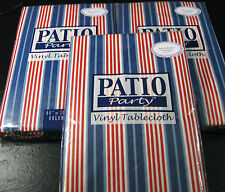 FLANNEL-BACKED VINYL-PATIO PARTY  TABLECLOTH-ASSORTED SIZES-RED,WHITE & BLUE-NEW