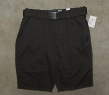 NWT G & M Mens Coffee Brown Twill Fray Hem Belted Shorts Size 30 Or 32