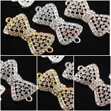 2 Charms Crystal Rhinestone Bowknot Bracelet Connector Finding 36x17mm