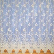 PURE WHITE NET CURTAIN SUMMER / SPRING BUTTERFLIES FLORAL DESIGN 3906 ALL SIZES