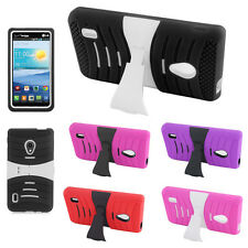 For LG Lucid 2 VS870 HYBRID Hard Gel Rubber KICKSTAND Case Phone Cover Accessory