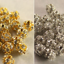 25pc 6/8/10mm gold/silver Pave Crystal Rhinestone Hollow Round Ball Spacer Beads
