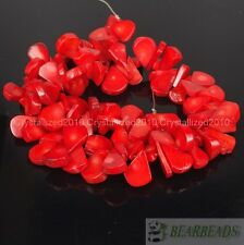Natural Coral Gemstone 10mm x 15mm Flat Drop Loose Spacer Beads 16 Inches Strand