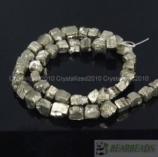 Natural Iron Pyrite Gemstone Cutting Freeformed 6-8mm Nugget Beads 16 Inches
