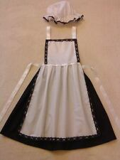 LADIES VICTORIAN TUDOR EDWARDIAN MAID FANCY DRESS COSTUME blk/white all sizes