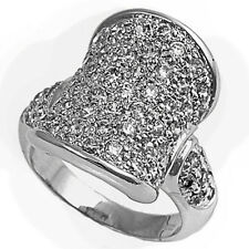 DESIGNER CONCAVE CLEAR CUBIC ZIRCONIA .925 Sterling Silver Ring Sizes 6-10