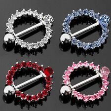 CZ GEM PAVED CIRCLE NIPPLE SHIELD COVER RINGS BODY PIERCING BAR JEWELRY 14G 5/8""