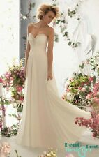 new ivory Long  Evening Formal Party Ball Prom Bridesmaid Dresses Wedding Gown