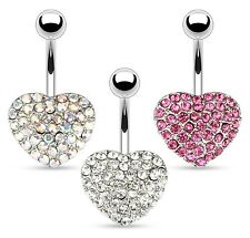 Large Crystal HEART Belly Bar -Pick Colour & Length: 6mm 8mm 10mm 12mm 14mm 16mm