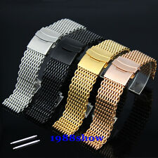 New Luxury 20 22 mm Shark Bracelet Double Clasp Watch Mesh Strap Color Band