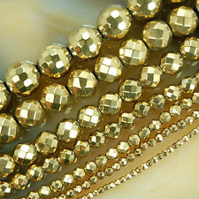 "Faceted Golden Hematite Round Beads 15.5"" 2,3,4,6,8,10,12mm Pick"