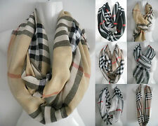 (US SELLER) NEW womens PLAID/CHECK print cowl infinity circle scarf loop wrap