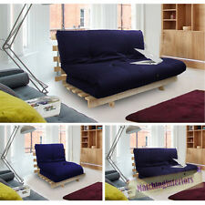 Navy Blue Studio Futon Wooden Frame Sofa Bed Thick Sleeping Mattress Student Dig