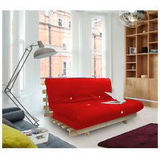 Red Studio Futon Wooden Frame Sofa Bed Thick Sleeping Mattress Student Dig