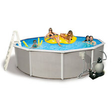 Belize Round 52-inch Deep, 6-inch Top Rail Metal Wall Swimming Pool Package