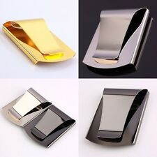 Gold/ Silver/Black Woman Man's Stainless Steel Money Clip Business Cards Holder